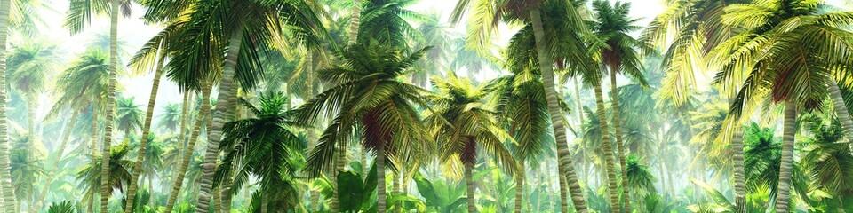 Panel Szklany Optyczne powiększenie Jungle in the morning in the fog, palm trees in the haze, 3D rendering
