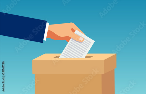 Fototapeta  Vector of a hand inserting in box a ballot paper