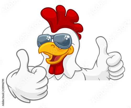 Photographie A chicken rooster cockerel bird cartoon character in cool shades or sunglasses p