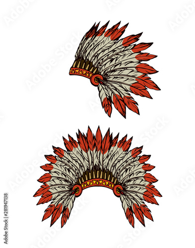 Tela Native American with feathers. Vector drawing