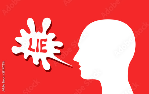 Liar is talking lie - false and fake speech to deceive and cheat through communication Tapéta, Fotótapéta