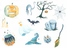 Halloween Symbos Collection. Cartoon Style. Watercolor Illustration