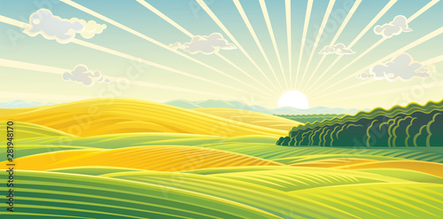 Fototapeta Panoramic rural Landscape, sunrise over fields and hills obraz