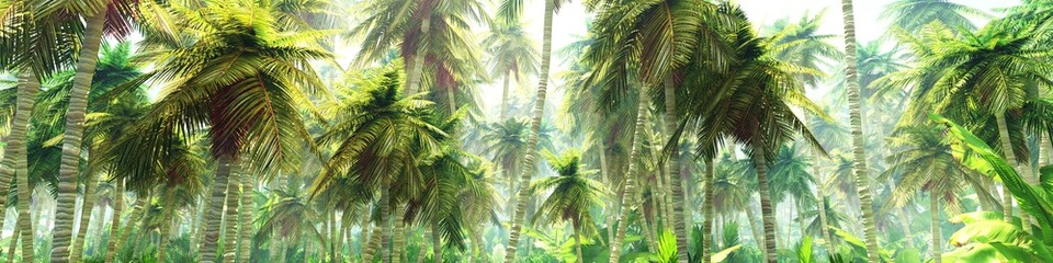 Fototapeta Popularne Jungle in the morning in the fog, palm trees in the haze, 3D rendering