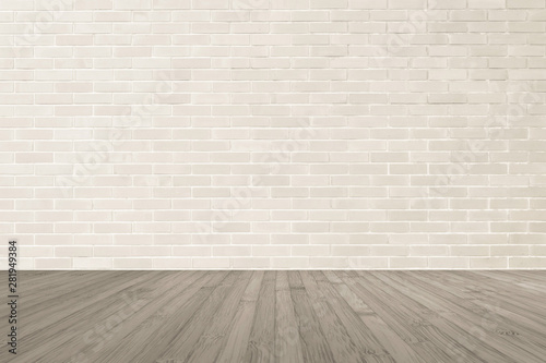 Fototapeta Cream brown brick wall textured background with wooden floor in sepia brown for interiors obraz na płótnie