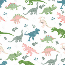 Blue, Pink And Green Dinosaurs Seamless  Pattern