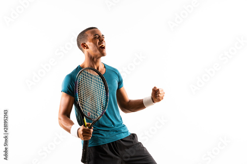 Afro American tennis player man over isolated white background . Fototapeta