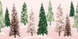 Snowy winter trees repeating banner. Beautiful textured pine, spruce and fir tree glade with soft pink morning light on freshly fallen snow. Beautiful as a Christmas border or decorative ribbon.