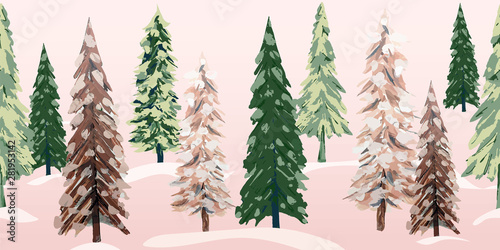obraz lub plakat Snowy winter trees repeating banner. Beautiful textured pine, spruce and fir tree glade with soft pink morning light on freshly fallen snow. Beautiful as a Christmas border or decorative ribbon.