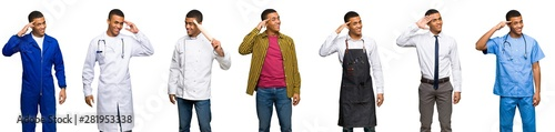 Fotografie, Tablou Set of doctor, barber and businessman saluting with hand