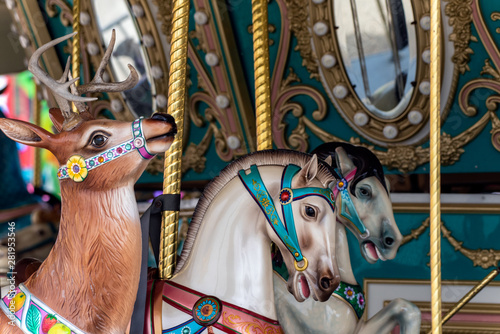 Fotografie, Tablou  Country Fair midway carousel ride features a variety of different horses and reindeer mounts to ride