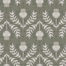 Cardoon Thistle And Dill Flower Seamless Repeat Vector Pattern Swatch.  Botanical Damask.  Faded Flat Colors.