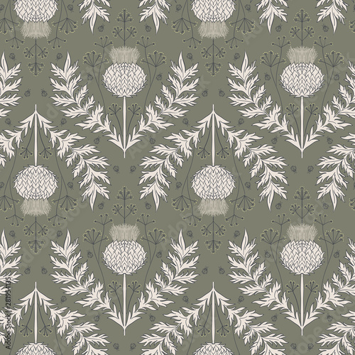 Obraz na plátně Cardoon thistle and dill flower seamless repeat vector pattern swatch