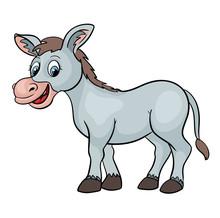 Cute Cartoon Donkey Farm Anima...