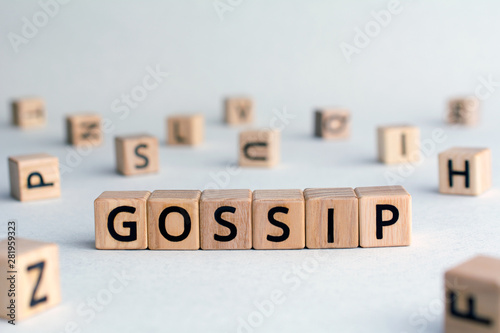 Gossip - word from wooden blocks with letters, other people's private lives conc Canvas Print