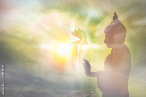 hand of buddha statue, light of wisdom and concentration concept, the belief and worship in buddhism religion