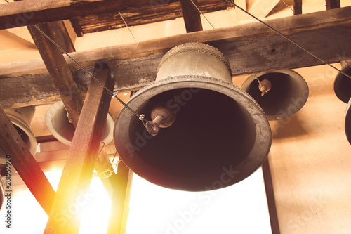 Cuadros en Lienzo vintage church bell under tower old christian church in Thailand.