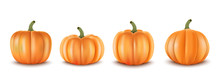 3d Realistic Set Pumpkins. Decoration For Halloween And Autumn Sale Banners An Other. Vector Illustration