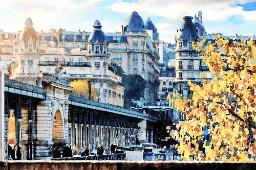 Fotografia  Beautiful Digital Watercolor Painting of the Bir Hakeim bridge in Paris, France