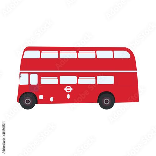 English classic double decker bus, side view. Tablou Canvas