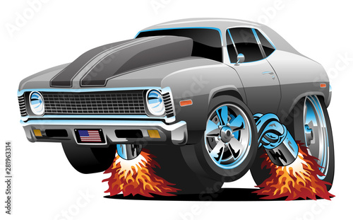 Fotobehang Cartoon cars Muscle Car Hot Rod Cartoon Isolated Vector Illustration