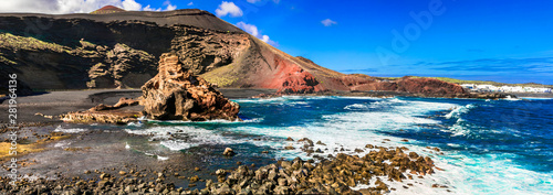 Beauty in nature - volcanic island Lanzarote, impressive colorful beach El Golfo. Canary islands