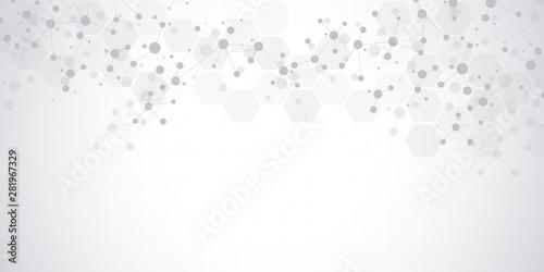 Fotografía  Abstract molecules on soft grey background