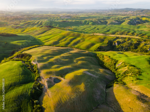 Foto op Aluminium Heuvel Aerial drone landscape of famous Tuscany hills, Italy spring fields sunset Asciano Siena Firenze