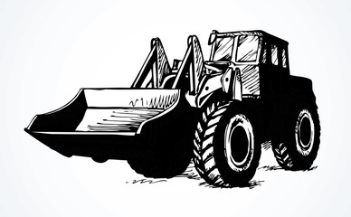 Tractor with bucket. Vector drawing