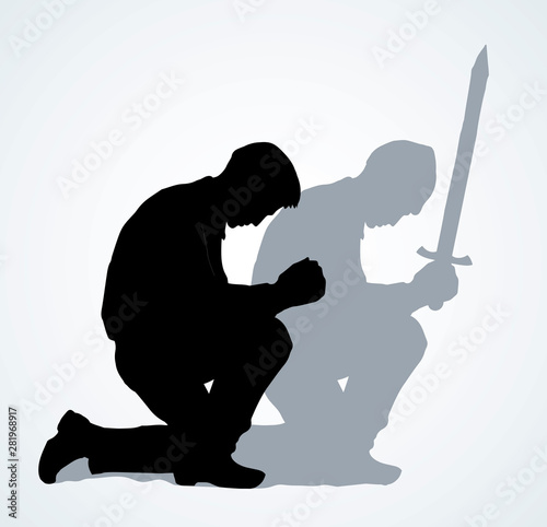 Vector image of the praying person Wallpaper Mural