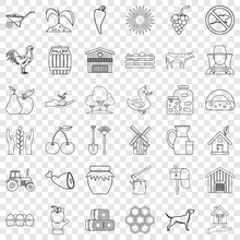 Household Icons Set. Outline Style Of 36 Household Vector Icons For Web For Any Design