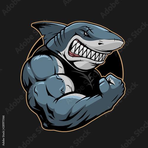 Photo Angry shark logo template illustration