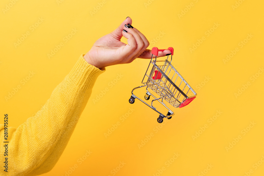 Fototapeta Buying things at market shops concept. Woman hand holding small tiny shopping cart trolley over trend yellow background