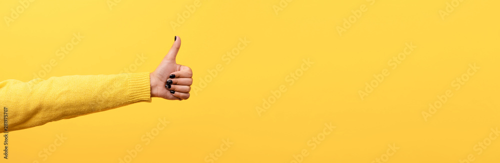 Fototapety, obrazy: thumb up, like sign  over trend yellow background, panoramic image