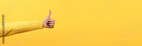 Photo  thumb up, like sign  over trend yellow background, panoramic image