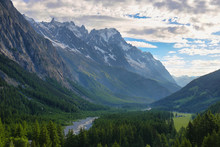 View Of The Dent Du Geant And Other Mountains From Notre-Dame De Guérison Sanctuary, Aosta Valley, Italy