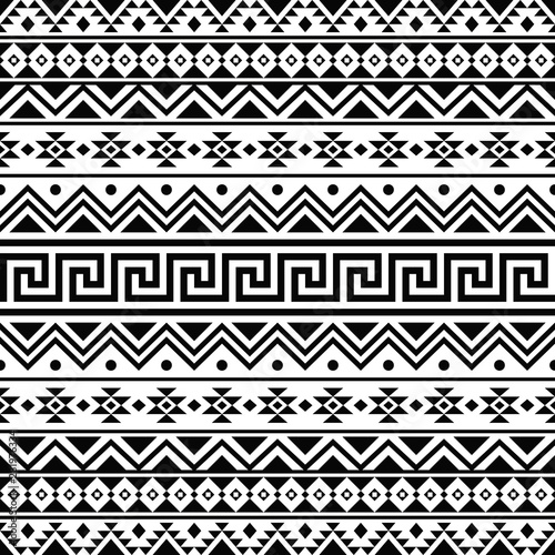 Ikat Aztec ethnic seamless pattern design in black and white color Wallpaper Mural