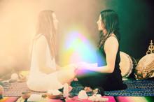 Shamanic Healers In Rainbow Aura Energy Field.