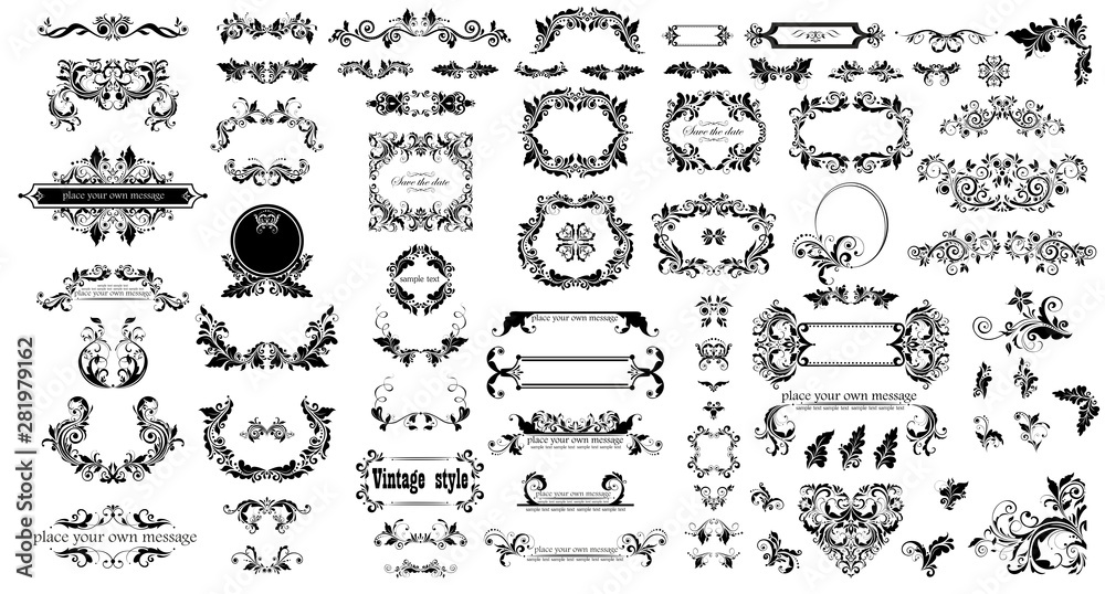 Fototapety, obrazy: Mega set of decorative vintage floral black frames, title and headers for wedding and heraldic design, fashion labels, ceremony, menu card, restaurant, cafe, hotel, jewellery store, logo templates, mo