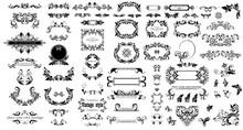 Mega Set Of Decorative Vintage Floral Black Frames, Title And Headers For Wedding And Heraldic Design, Fashion Labels, Ceremony, Menu Card, Restaurant, Cafe, Hotel, Jewellery Store, Logo Templates, Mo