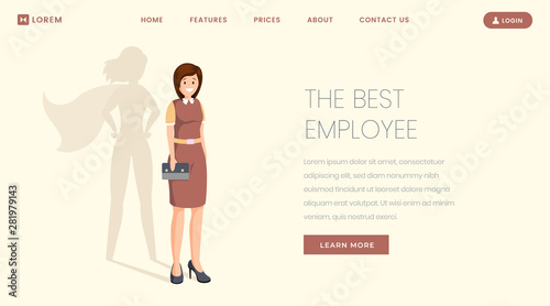 Best employee flat landing page vector template Canvas Print