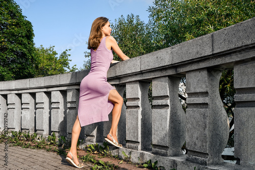 Cute girl on observation deck Tablou Canvas