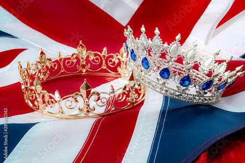 British royals, royal coronation and monarchy concept theme with a gold king cro Wallpaper Mural