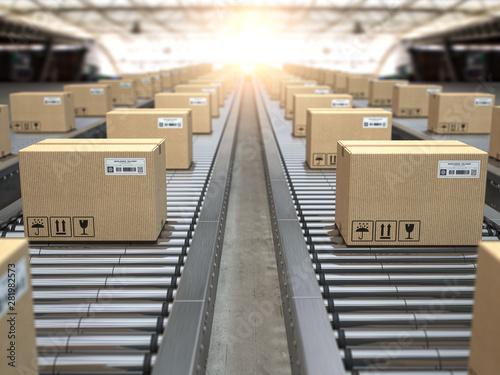 Box on conveyor roller Fototapet