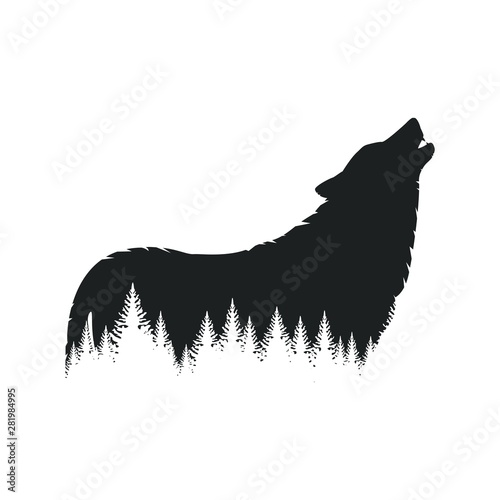 Forest wolf silhouette Canvas Print