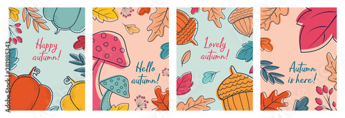 Fototapeta Autumn postcards with leaves, berries, mushrooms, acorns, pumpkins. Greeting cards for vector flat design. Fall template. Cute invitation. Background with autumn plants for  the holiday. obraz