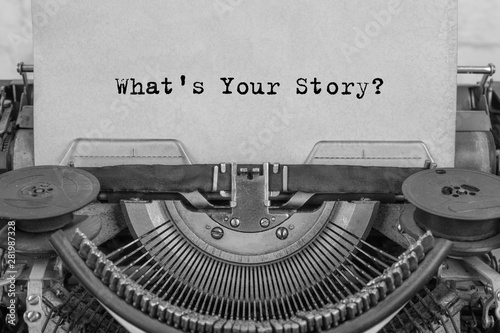 Valokuva  what's your story? The text is typed on paper with an old typewriter, a vintage inscription, a story of life
