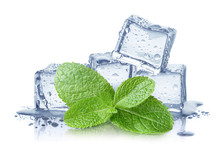 Ice Cubes And Fresh Mint Leave...