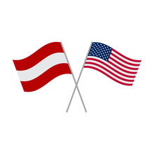 American And Austrian Flags Vector Isolated On White Background