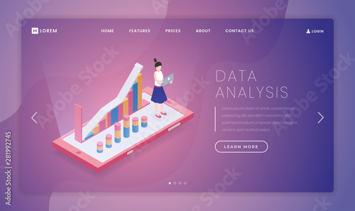 Data analysis landing page vector template  Analytical firm
